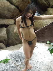 Hot ladyboy flashing her rock hard cock outdoors