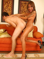 Dark Skinned Asian Ladyboy Tumcha Getting rammed