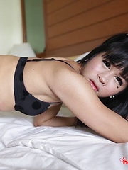Wild Thai Ladyboy with hard penis loves white cock